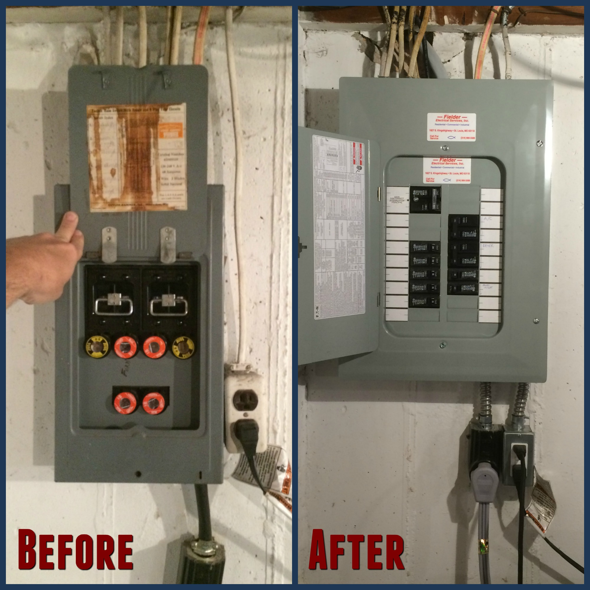 ... electrical service. fuse box to electric panel