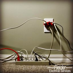 overloaded outlet and extension cord
