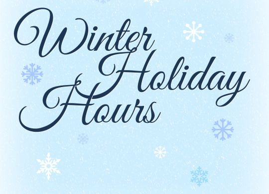 Winter Hours Closed